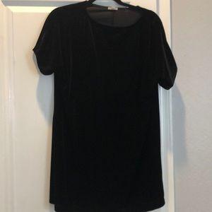 Black velvet shift dress